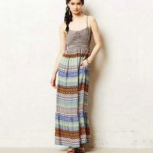 NWT Anthropologie Plaited Print Maxi Dress